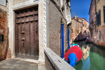 Historical houses along a canal in Venice, Italy