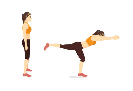 Woman doing Exercise guide by Single Leg Reach in 2 step. Illustration about workout posture.