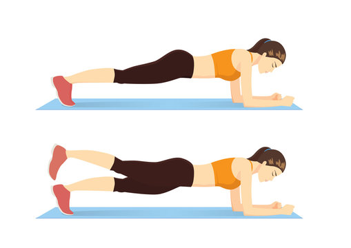 Exercise guide by Woman doing Plank leg raises in 2 steps on blue mat. Illustration about workout posture introduction.