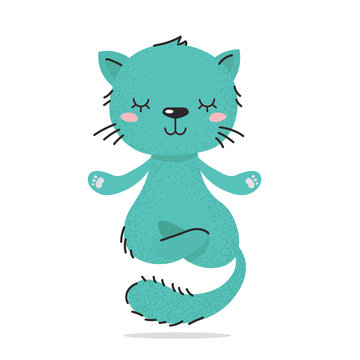 Cute fluffy little turquoise cat. The kitten is calm, meditates and levitates. A cozy home calm. Flat hand drawn illustration kid's poster. Lazy cartoon animal character set. Child theme.