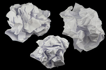 Group of  Paper  crumpled isolated on black  background. Clipping path.