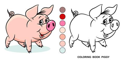 Coloring book piggy, cartoon character, flat design.