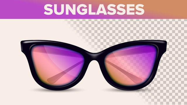 Vintage Stylish Sunglasses, Trendy Vector 3D Shades. Sunglasses With Pink Gradient Lens Isolated Clipart. Optics Store Assortment. Eyewear On Transparent Background. Accessories Realistic Illustration