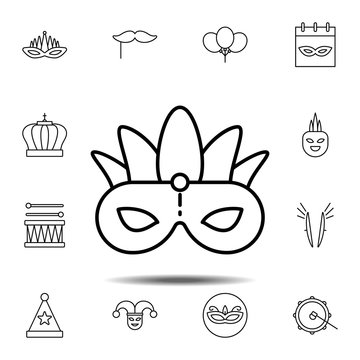 Mardi gras, mask icon. Simple thin line, outline vector element of Mardi Gras icons set for UI and UX, website or mobile application