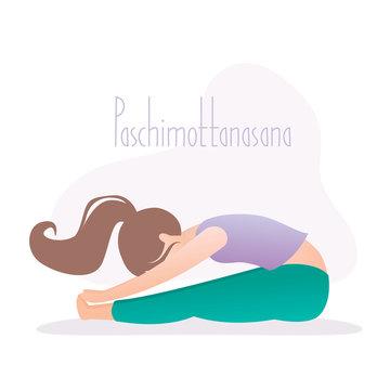 Girl doing yoga pose, Paschimottanasana Seated Forward Bend