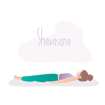 Girl doing yoga pose,Corpse Pose or Shavasana asana in hatha yoga