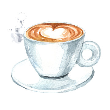 Cup of coffee. Watercolor hand drawn illustration, isolated on white background