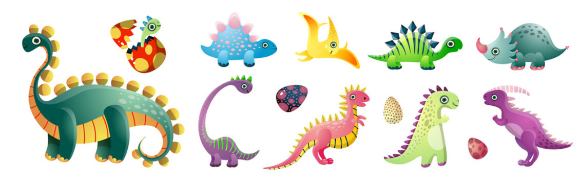 Set of cute colorful dinosaurs and colorful kid egg