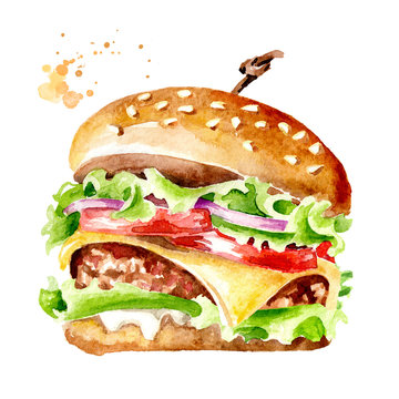 Fresh tasty burger. Watercolor hand drawn illustration, isolated on white background