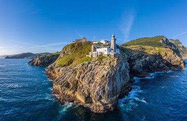 Santa Catalina lighthouse in Lekeitio, Basque country - drone aerial view