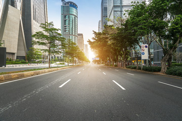 empty highway with cityscape and skyline of shenzhen,China. Wall mural