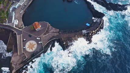Fototapete - Aerial view of pier near Seixal village, Madeira island, Portugal. Summer travel background.