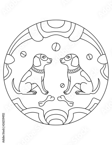 Dog Pattern Illustration Of Dogs Mandala With An Animal Dogs In A