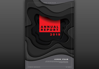 Annual Report Cover Layout with Black Paper Cut Elements