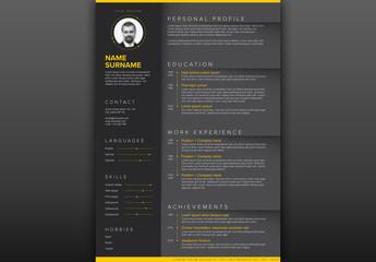 Minimalist Dark Resume CV Layout
