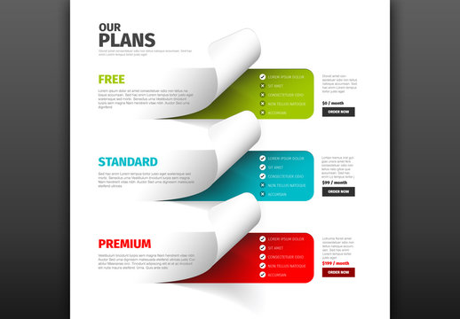 Product Service Plan Price Comparison Layout with Sticker Accents