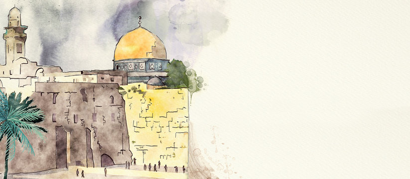 Jerusalem. Watercolor background