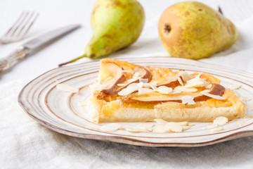 flavorous rustic open pie pear cheese cinnamon and almond
