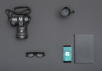 Smartphone with Camera and Assorted Objects Mockup