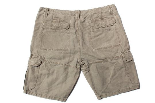 Men's linen cargo shorts on white background