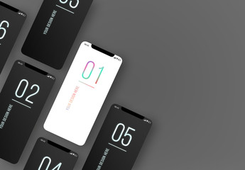 6 Smartphones on a Gray Background Mockup