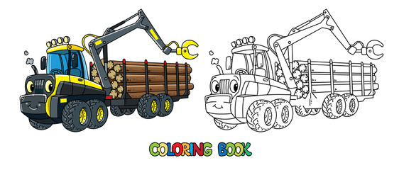 Funny harvester car with eyes coloring book