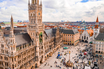 Wall Mural - Beautiful Munich architectural aerial view. Germany, Bavaria. Marienplatz town hall.