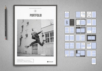 Portfolio or Album Layout with White and Gray Elements