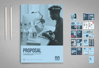 Blue Business Proposal Layout with Pink Accents