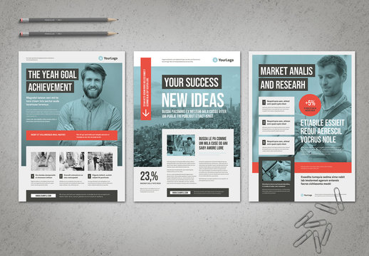 Blue Business Flyer Layout with Coral Accents