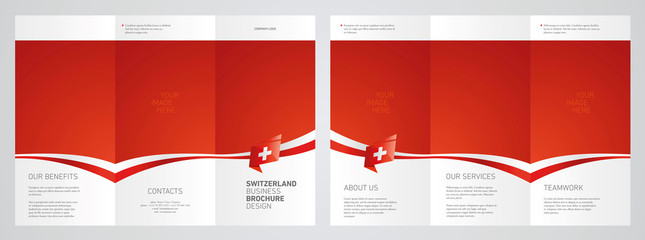 Wavy flag and ribbon of Switzerland three fold brochure modern design red abstract background