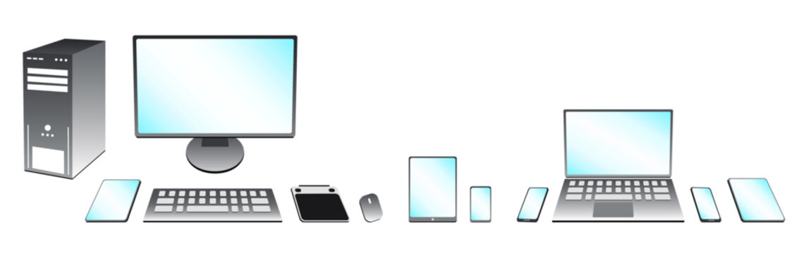 Set of Computer, Laptop, Tablet, and Phone Technology Items in Brushed Silver - Mix and Match