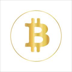 Bitcoin icon in metallic gold foil design. Vector crypto currency symbol.