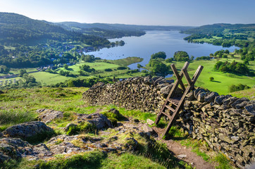 A morning shot of Lake Windermere showing the stone walling and the stile providing passage over the wall.  Wall mural