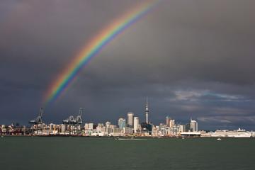 Rainbow above Auckland city in New Zealand
