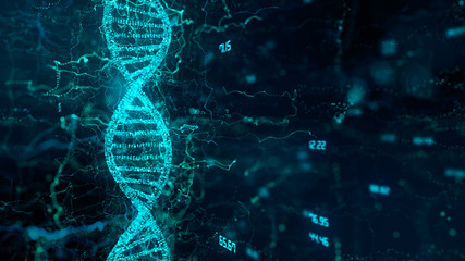 CRISPR Cas9 Genetic manipulation DNA double helix repair mechanisms of genetic engineering - 3D render Wall mural