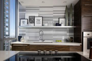 Ultra Modern miami Kitchen with Zebra Wood