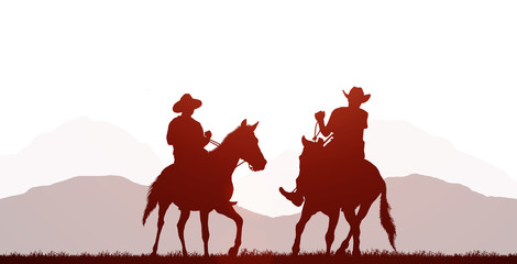 silhouette cowboy riding horse on white background Fototapete