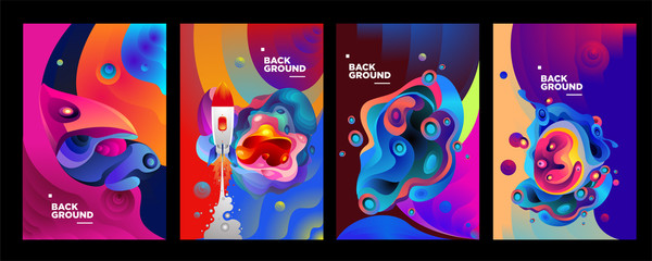 set of banner templates. universe. space. space trip. design. vector illustration.