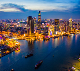 Wall Mural - Aerial view of Ho Chi Minh City skyline