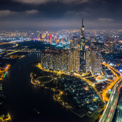 Wall Mural - Aerial view of Ho Chi Minh City skyline at night