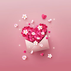 Opened envelope full of origami hearts of pink color and spring blossoms, forming a big heart. Vector illustration of love mail message. Paper cut, digital craft style