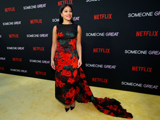 "Cast member Gina Rodriguez poses at a screening for the film ""Someone Great"" in Los Angeles"