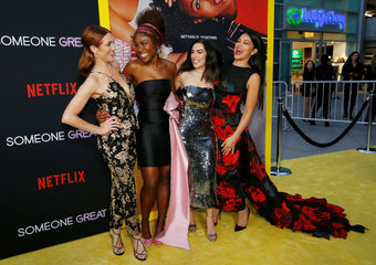 "Cast members Gina Rodriguez, DeWanda Wise, Brittany Snow and writer and director Jennifer Kaytin Robinson pose at a screening for the film ""Someone Great"" in Los Angeles"