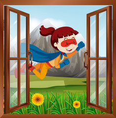 Female superhero flying on the window