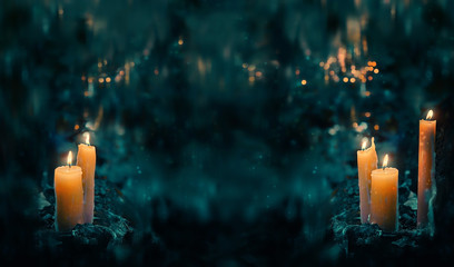 beautiful mysterious fairy scene. magic candles in forest. fabulous composition. Night forest and magic candles. Dark magic, witch ritual scene, Halloween background. Soft selective focus, banner