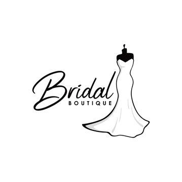 Monochrome Bridal Boutique Logo, Sign, Icon, Mannequin, Fashion, Beautiful Bride, Vector Design Template