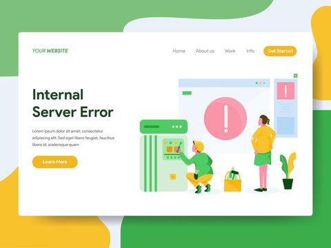 Landing page template of Internal Server Error Illustration Concept. Modern Flat design concept of web page design for website and mobile website.Vector illustration