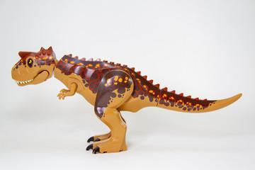 Dinosaur, Plastic Toy Animal isolated on white background.