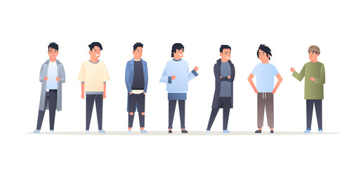 Wall Mural - young asian men group wearing casual clothes happy attractive guys standing together chinese or japanese male cartoon characters full length flat horizontal
